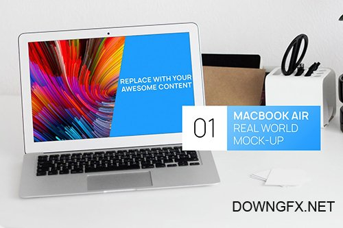 MacBook Air White Office Desk Real World Mock-up