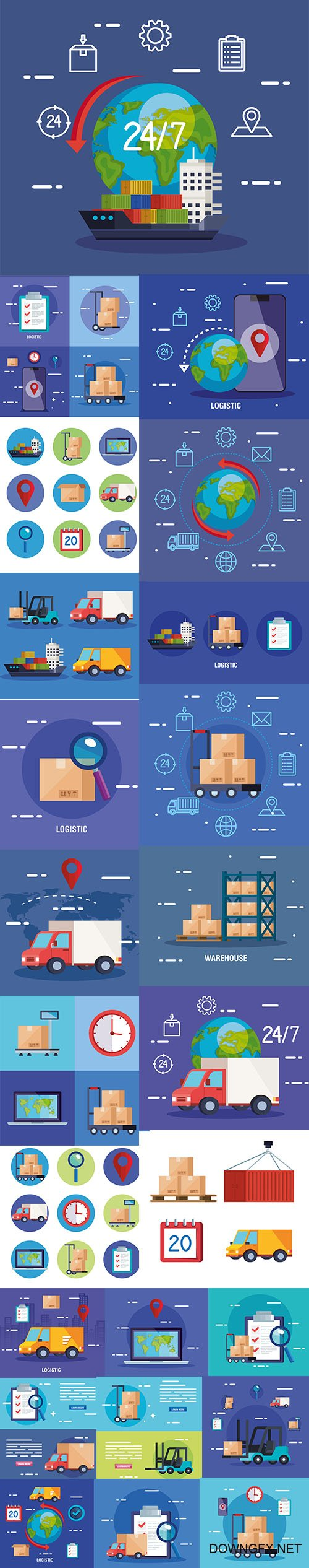 Delivery Logistic Service Illustration Set