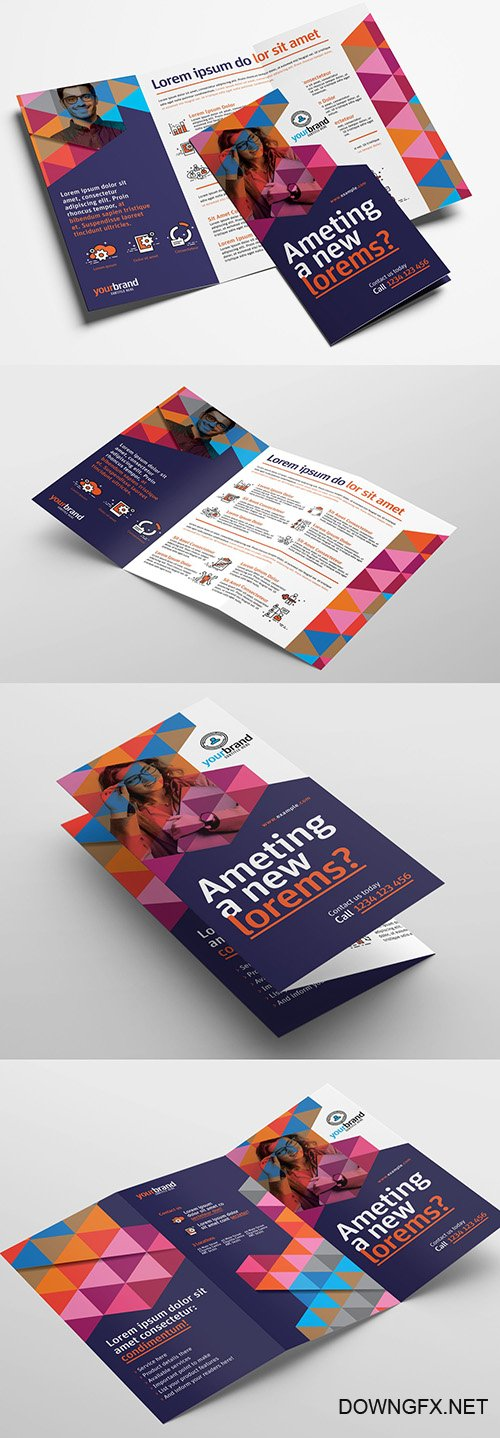 Trifold Brochure Layout with Geometric Pattern Elements 319812134