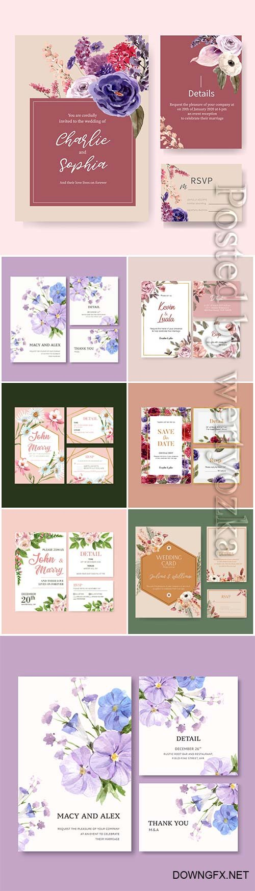 Floral wedding card with watercolor illustration