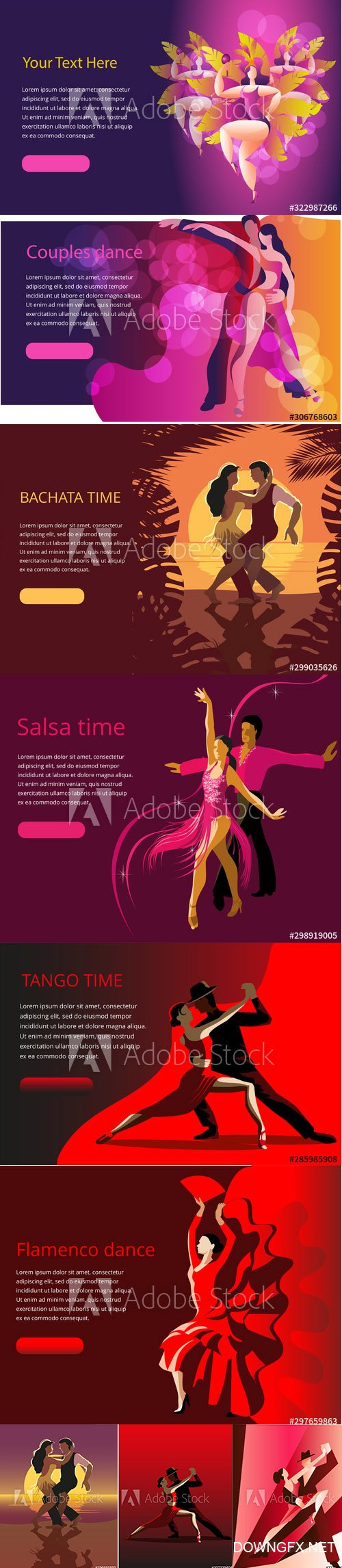 Beautiful couple dancing illustrations