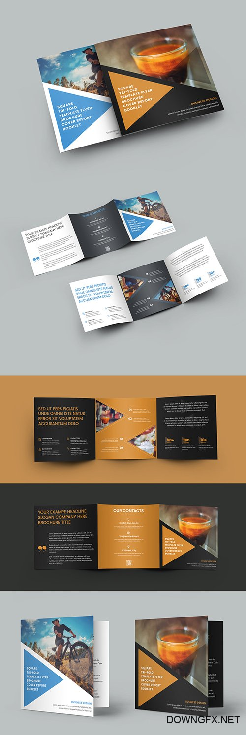 Square Tri-Fold Brochure with Triangles Elements Design 346981396