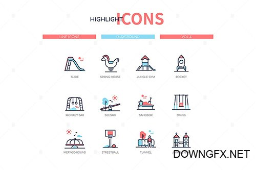 Playground elements - line design style icons set