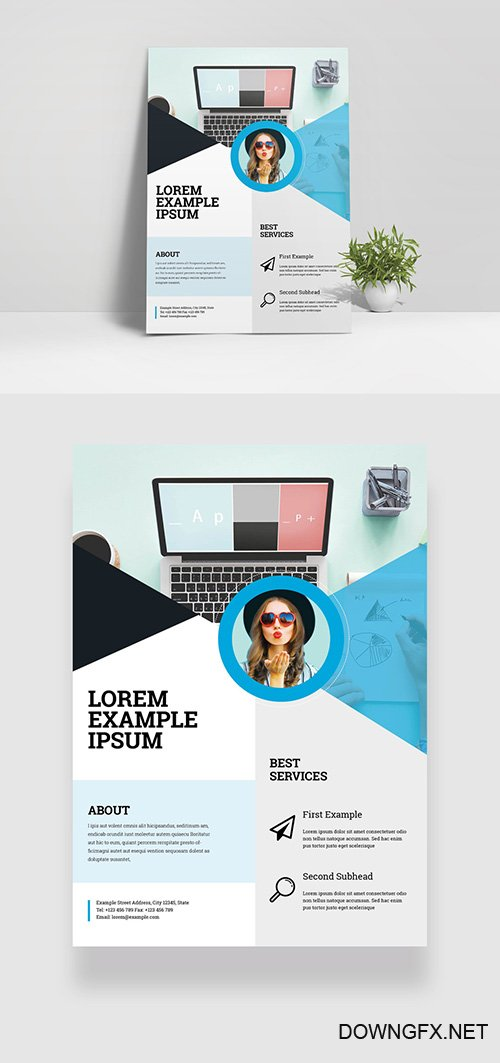 Flyer Layout with Blue and Gray Geometric Elements 332748639