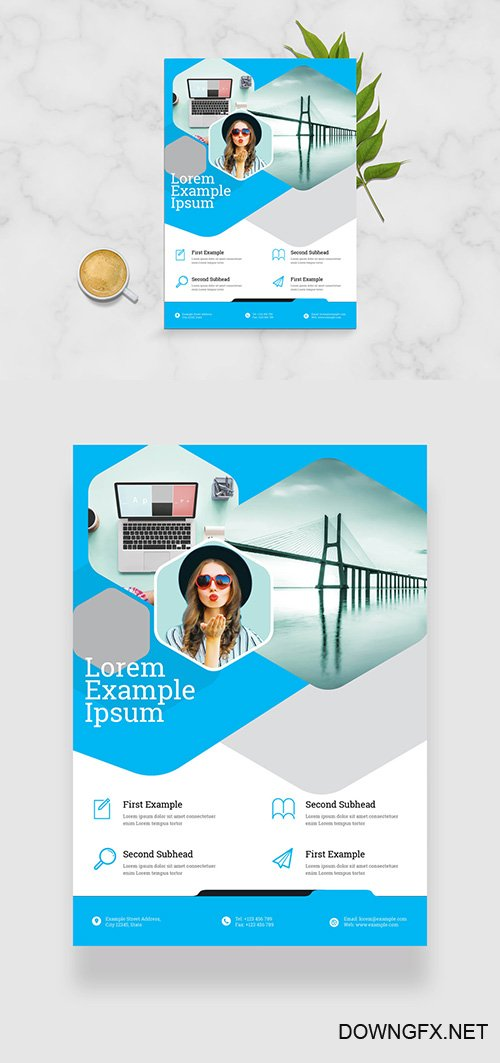 Business Flyer Layout with Cyan Geometric Elements 332748604