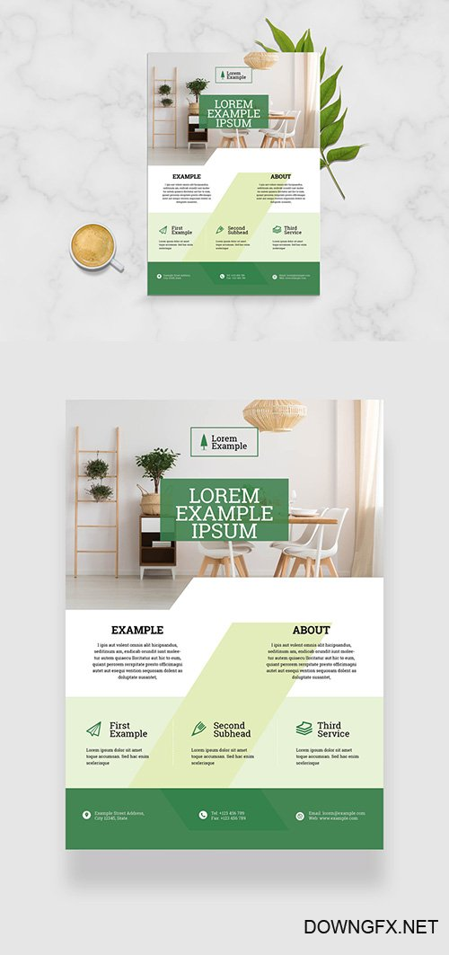 Business Flyer Layout with Green Geometric Elements 332748599