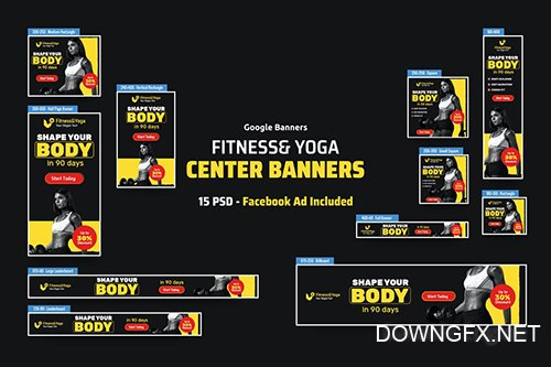 Fitness & Yoga Banners Ad PSD Template