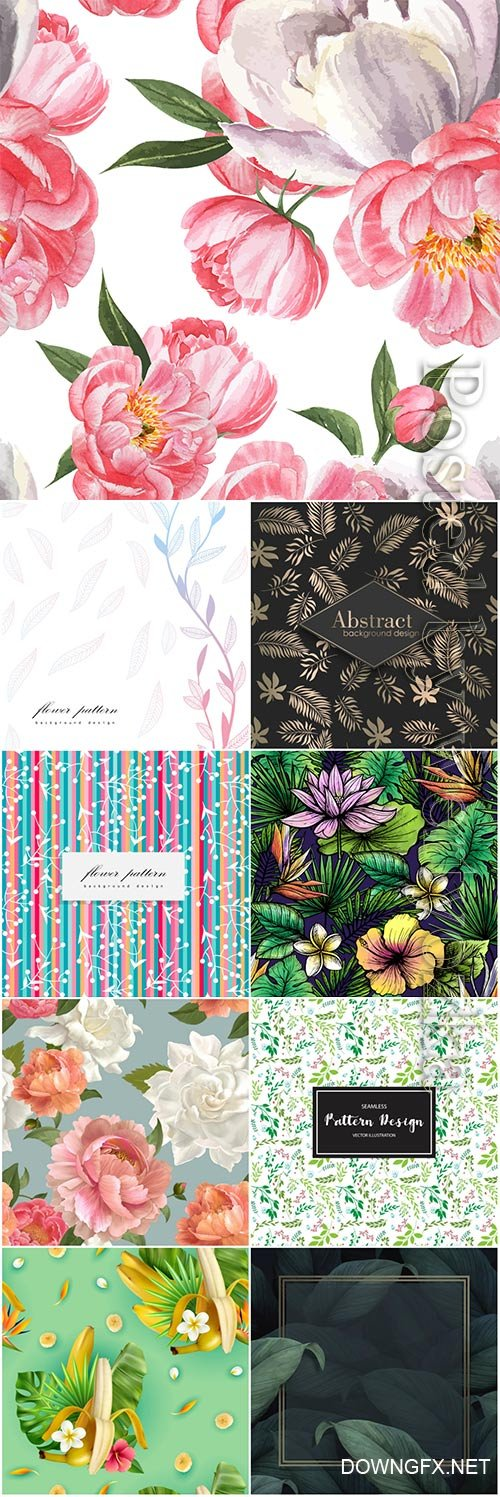 Seamless floral backgrounds in vector # 10