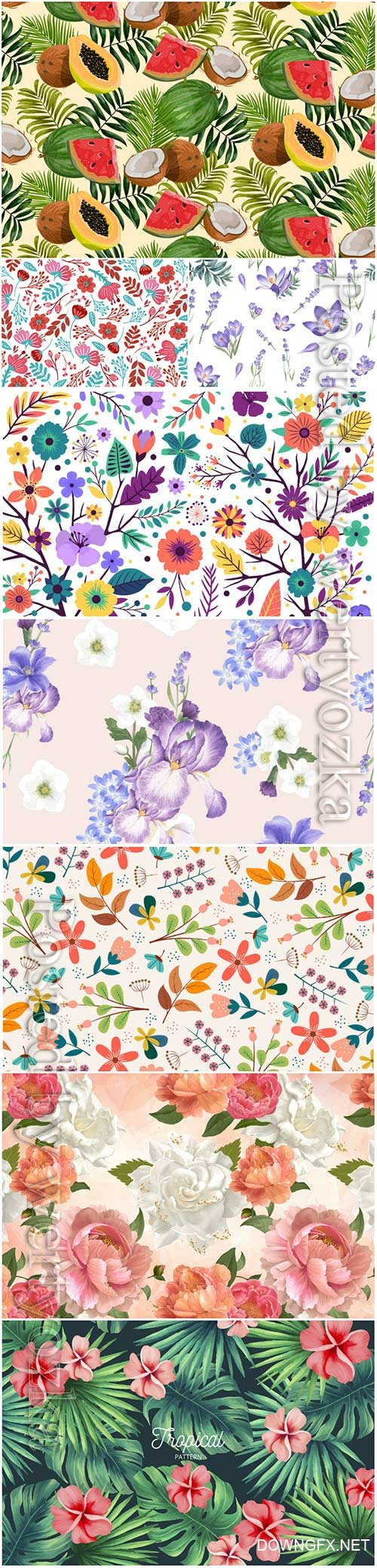 Seamless floral backgrounds in vector # 7