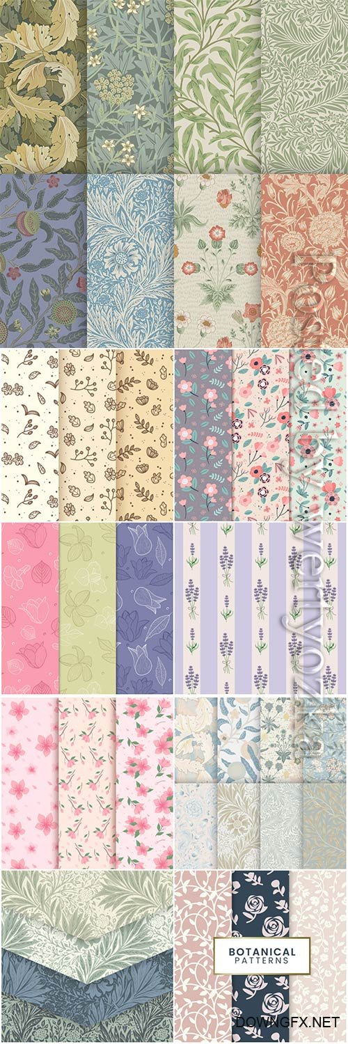 Seamless floral backgrounds in vector # 5