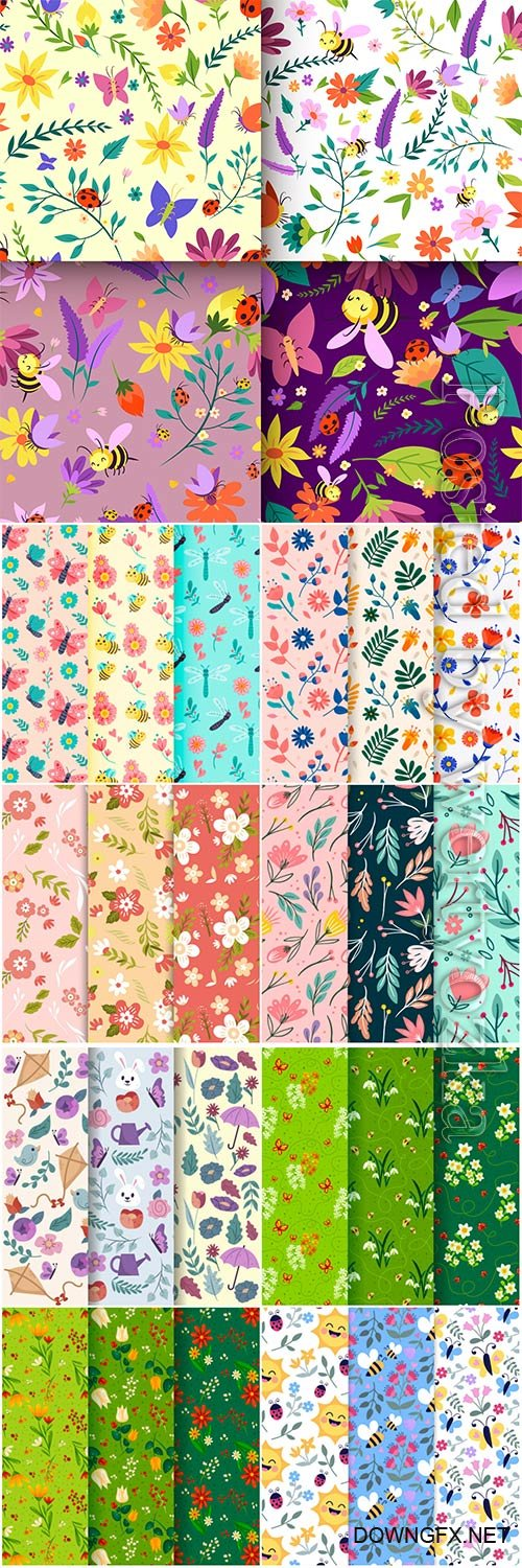 Seamless floral backgrounds in vector # 6