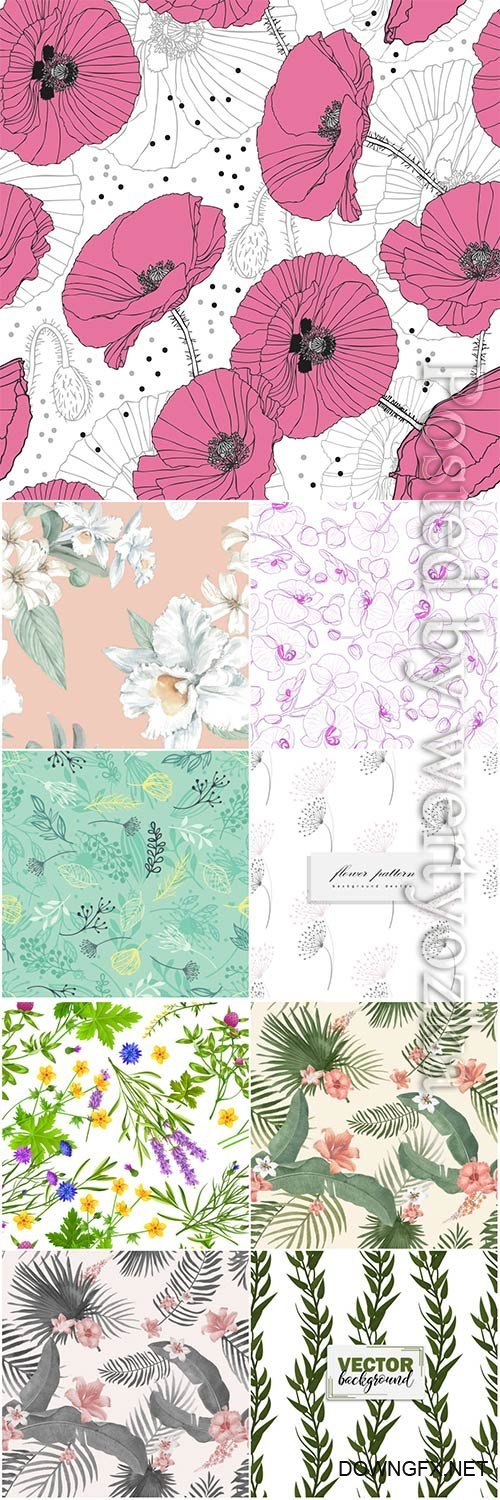 Seamless floral backgrounds in vector