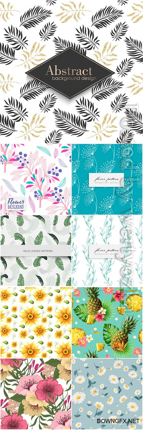 Seamless floral backgrounds in vector # 3