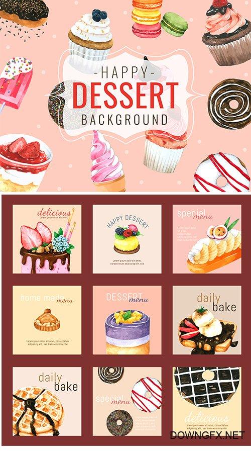 Dessert background hand drawn watercolour