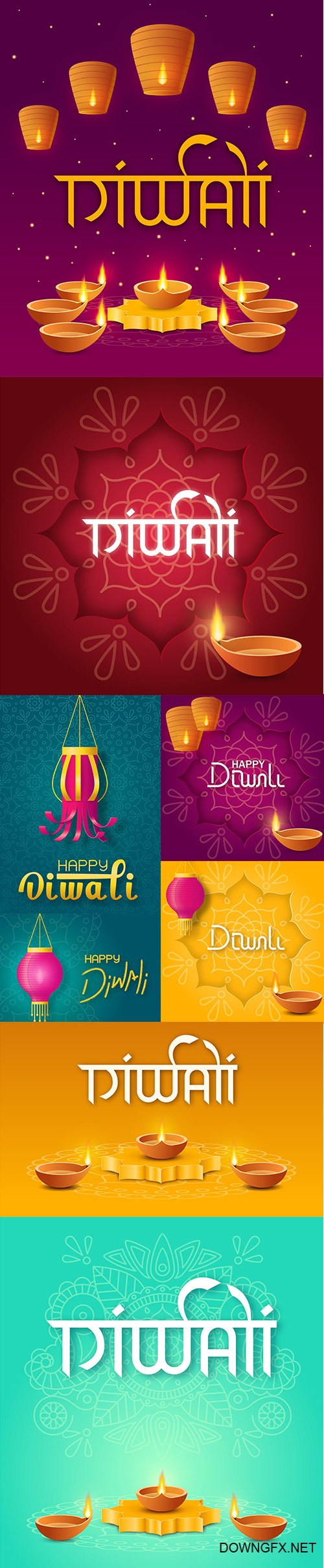 Concept festive diwali illustrations