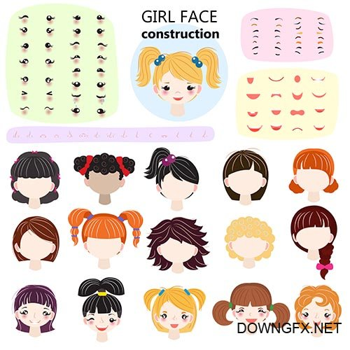 Girl face constructor vector kids character avatar