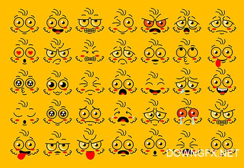 Funny face eye parts with expressions emotion