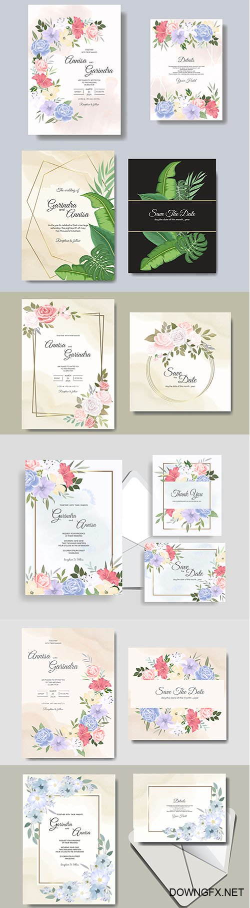 Beautiful Floral Wedding Invitation Card Template