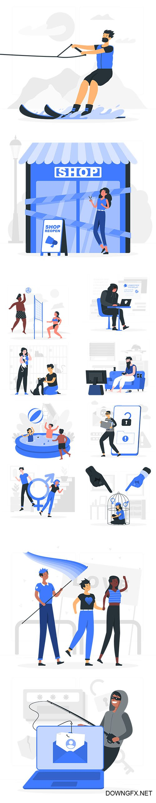 Vector Business and Live People Situations Illustrations Vol 2