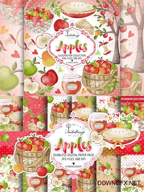 Watercolor Apples Clipart