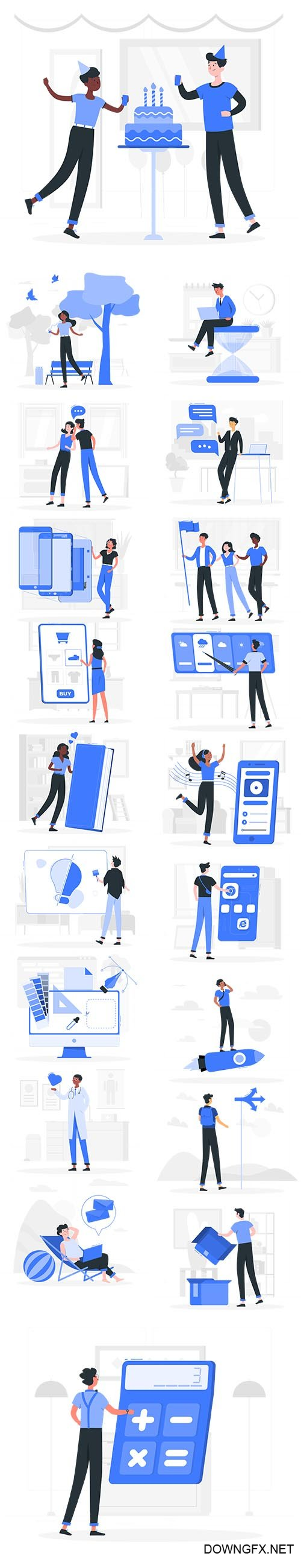 Vector Blu Illustrations People Concept Vol 2