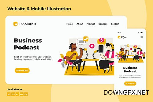 Business PSD and Vector Podcast Landing page & Mobile design