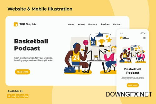 Basketball PSD and Vector Podcast Landing page & Mobile design