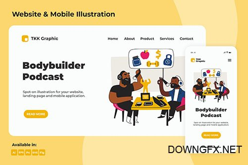 Bodybuilder PSD and Vector Podcast Landing page & Mobile design