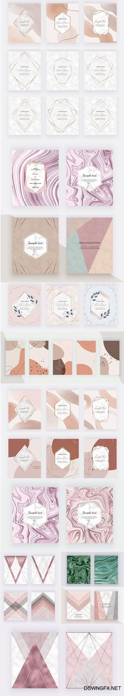 Marble Geometric Design with Pink Grey Triangular Rose Gold Foil Texture