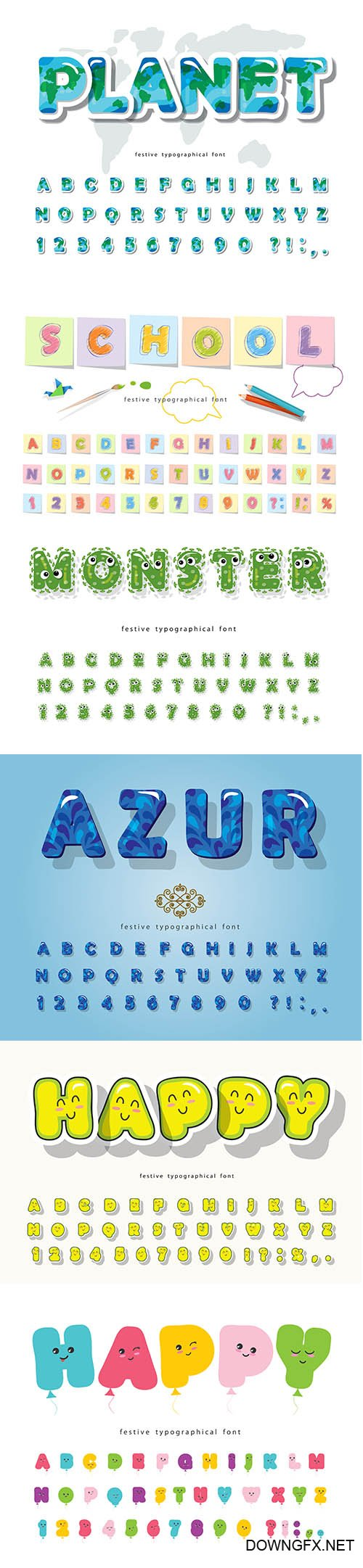Bubble Font Cute Alphabet Set