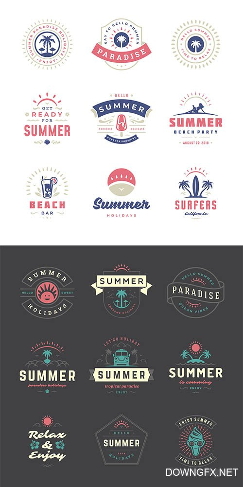 Summer Holidays Labels Badges Retro Typography Set