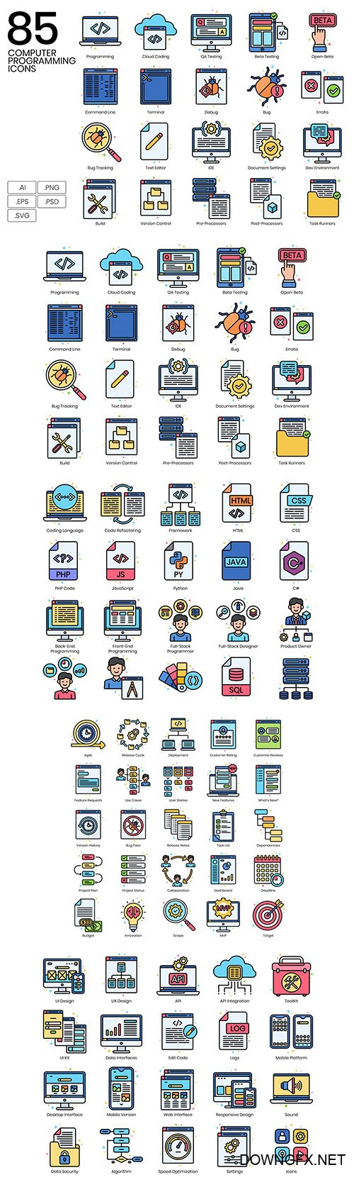 85 Computer Programming Line Icons