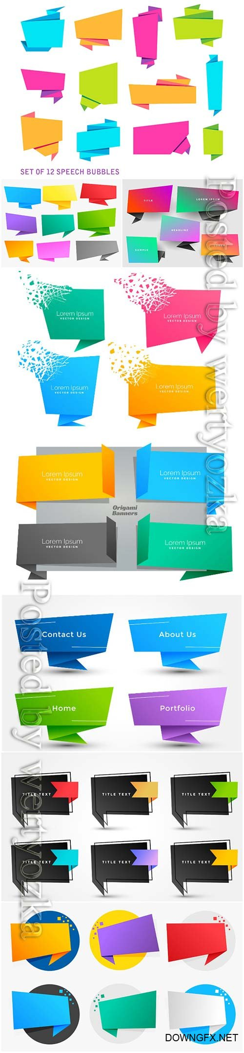 Set of four empty origami chat bubble