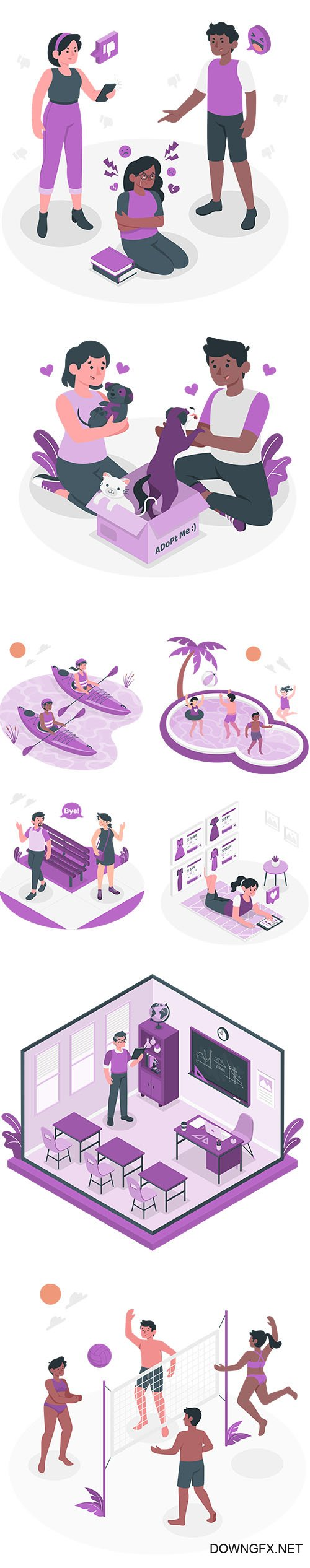 People Live Situations Set Purple Vector Collection Vol 3