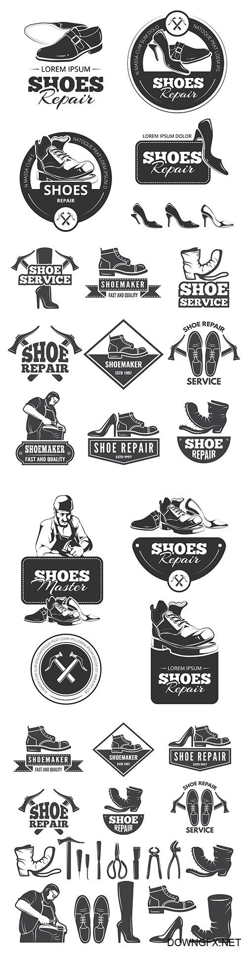 Shoe repair old monochrome labels and logos