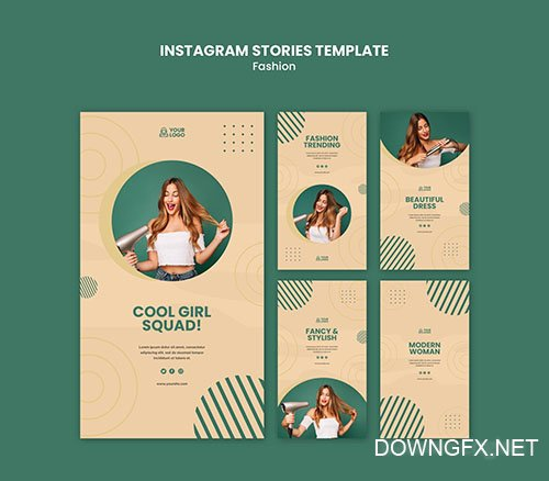 Fashion concept instagram stories template