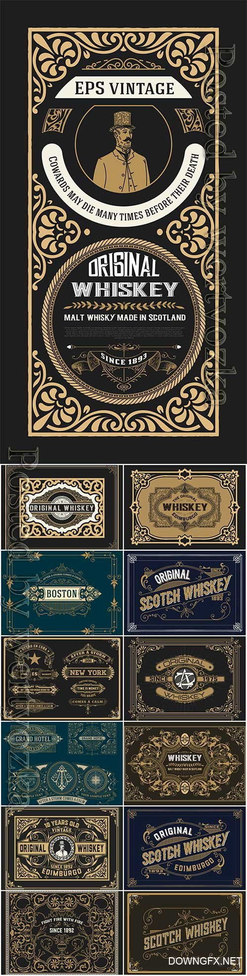 Vector vintage labels, emblems, logos, ribbons, patterns # 18