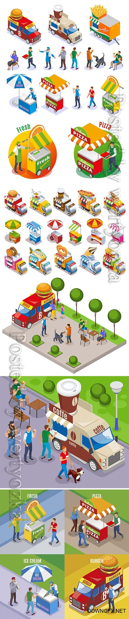 Street food carts and vehicle sellers and customers isometric icons set