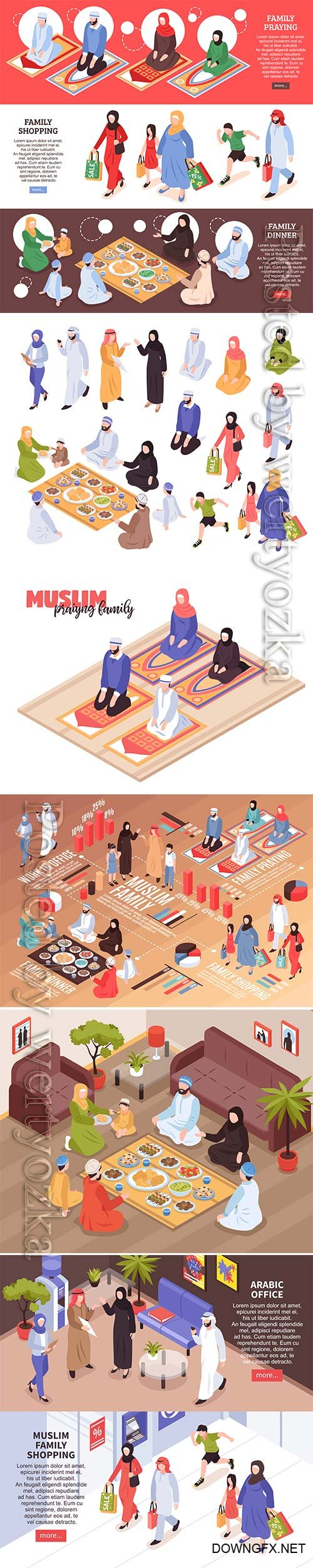 Arab family set with traditional food and shopping symbols isometric