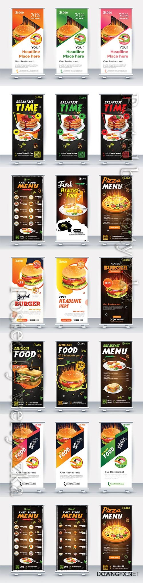 Fast food roll up banner restaurant menu template