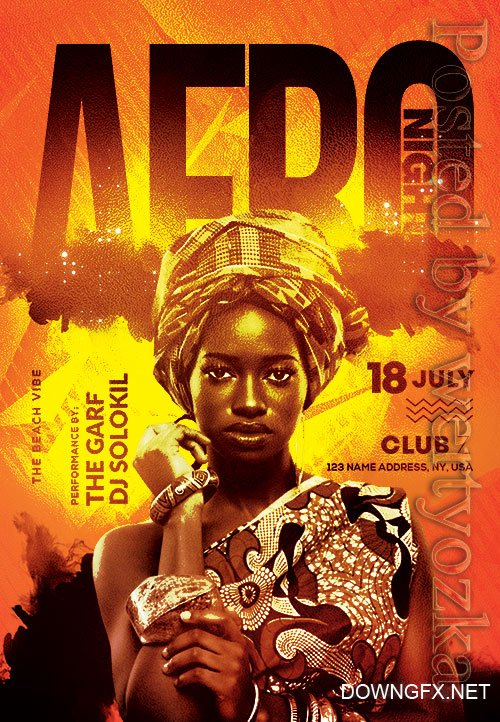 Afro night - Premium flyer psd template