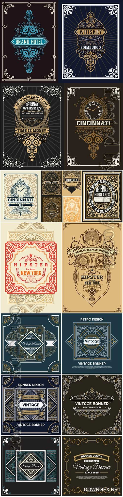 Vintage labels in vector, ornaments and logos # 2