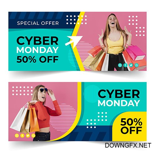 Flat Design Cyber Monday Banners