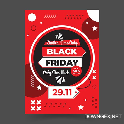 Memphis Style Black Friday Flat Design Flyer Template
