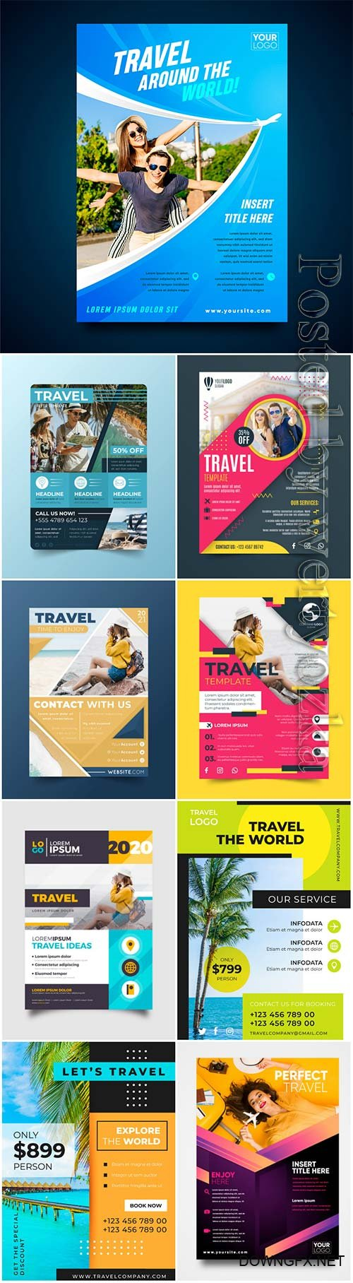 Travel and vacation flyers in vector