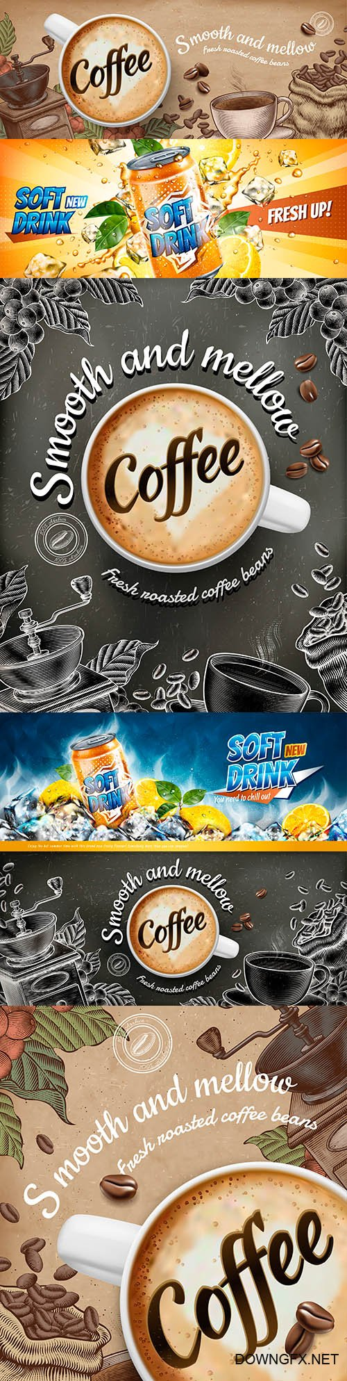 Banner advertising of soft citrus drinks and coffee latte