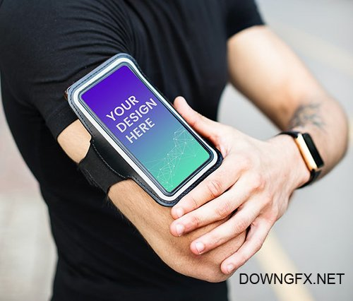 Active man with a phone mockup in an armband 580843