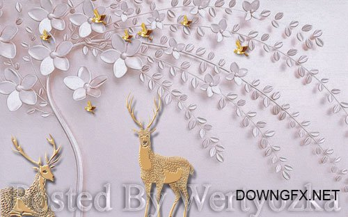 3D psd models simple nordic embossed fawn on a tree wall