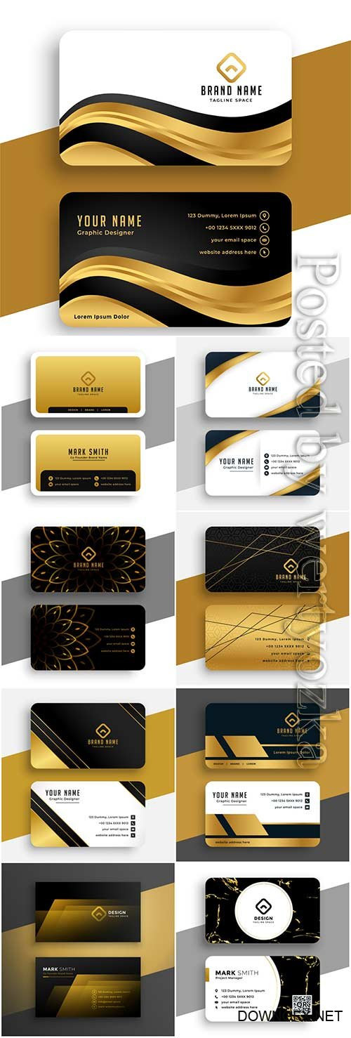 Luxury black business vector card with golden decoration