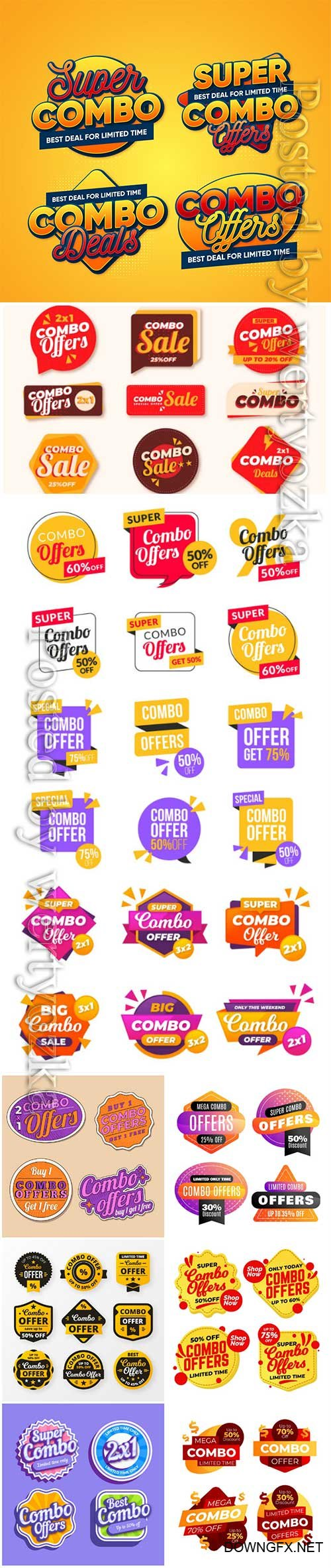 Combo offers labels vector collection vol 2